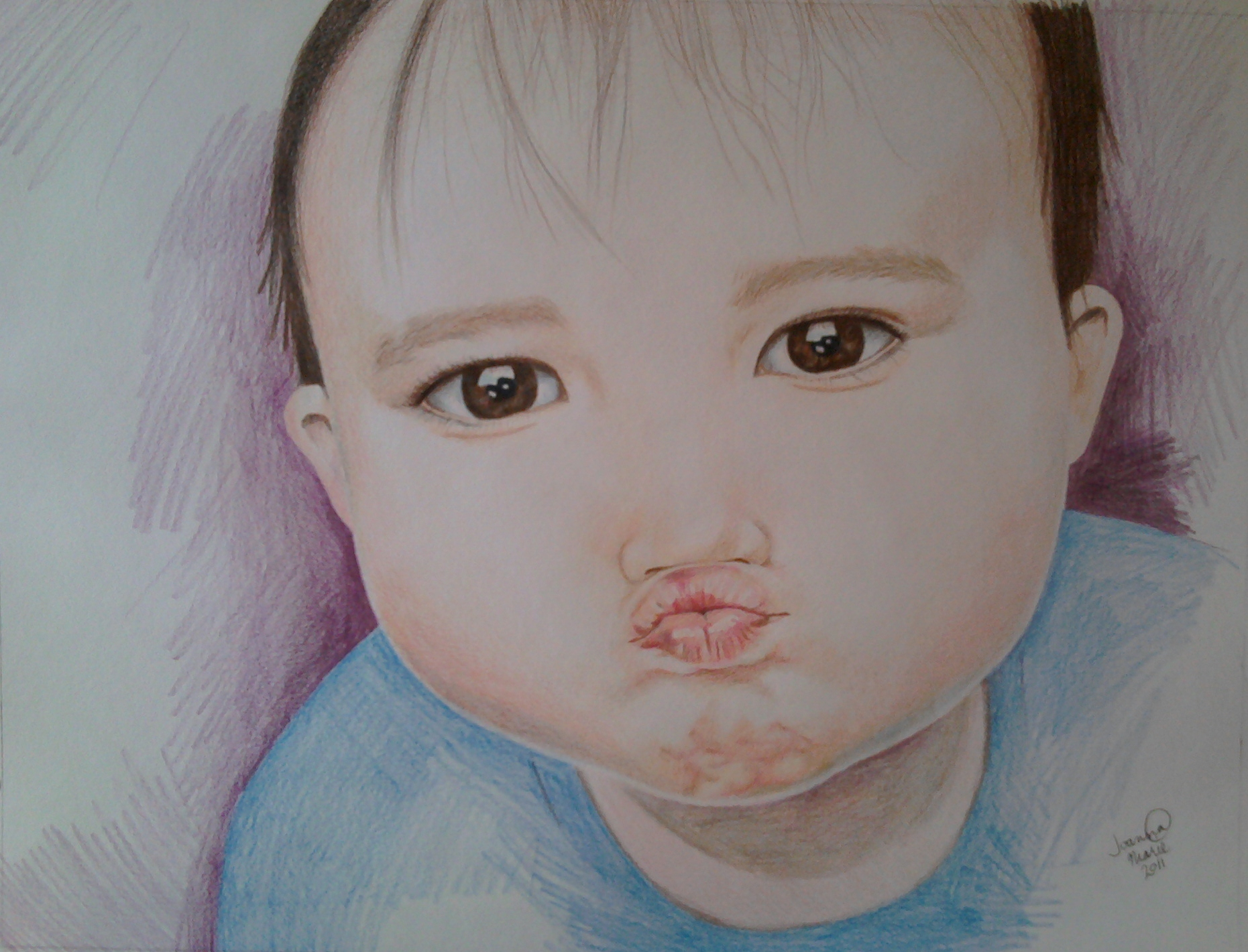 Kisses, 2011, 12x16, Colored Pencil