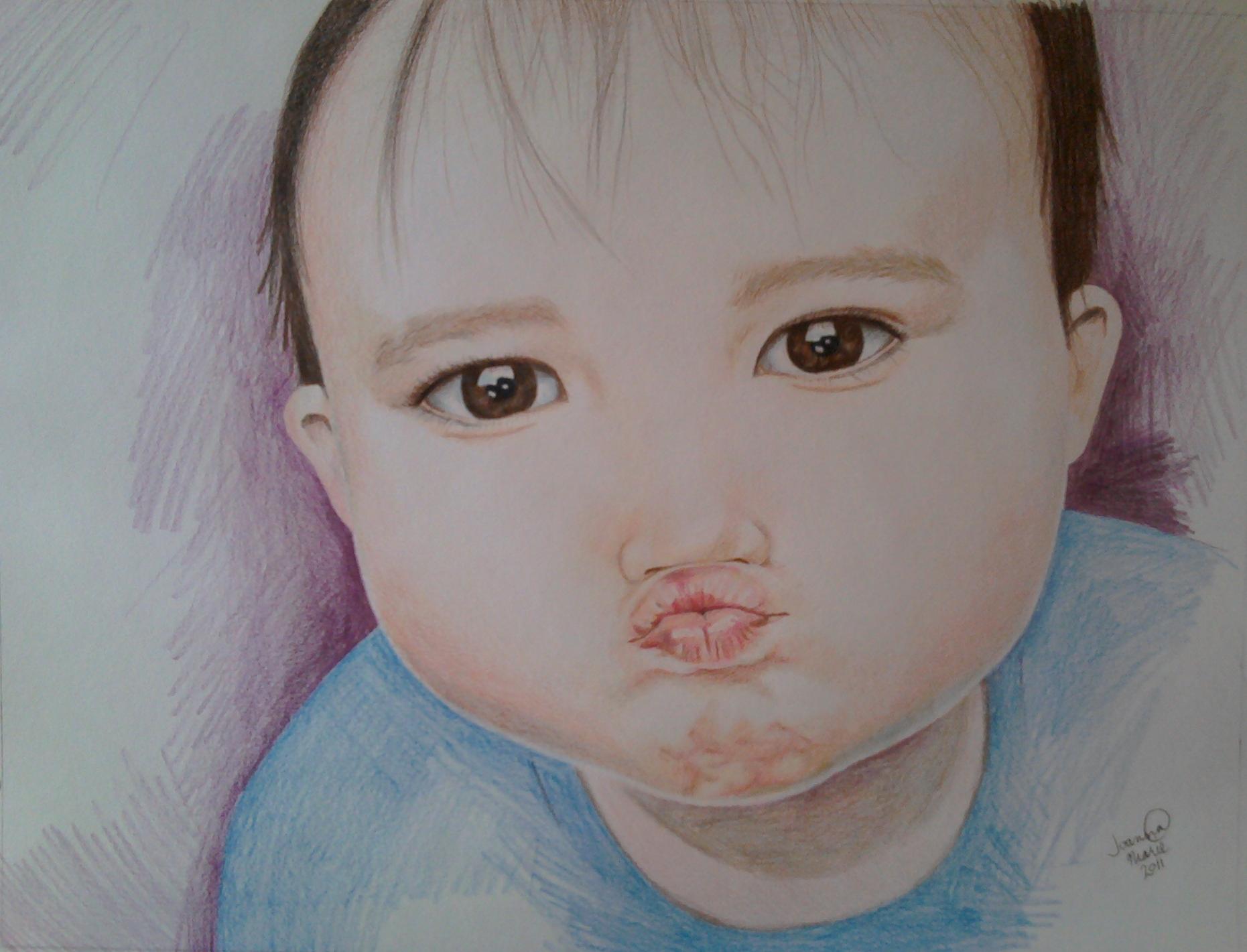 Kisses, 2011, 12x16, Colored Pencil