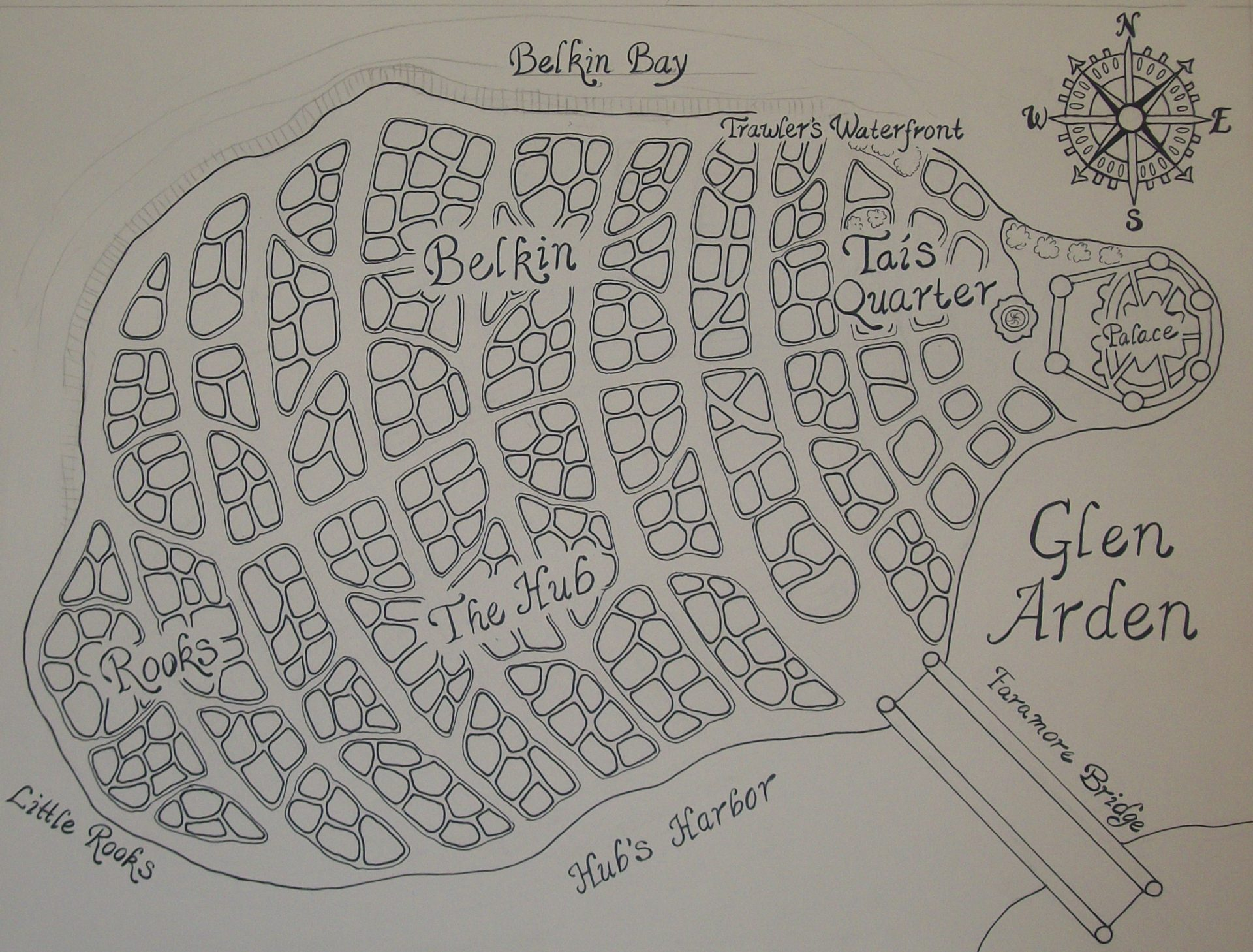 Glen Arden Map, 2012, 12x16, Pen and Ink