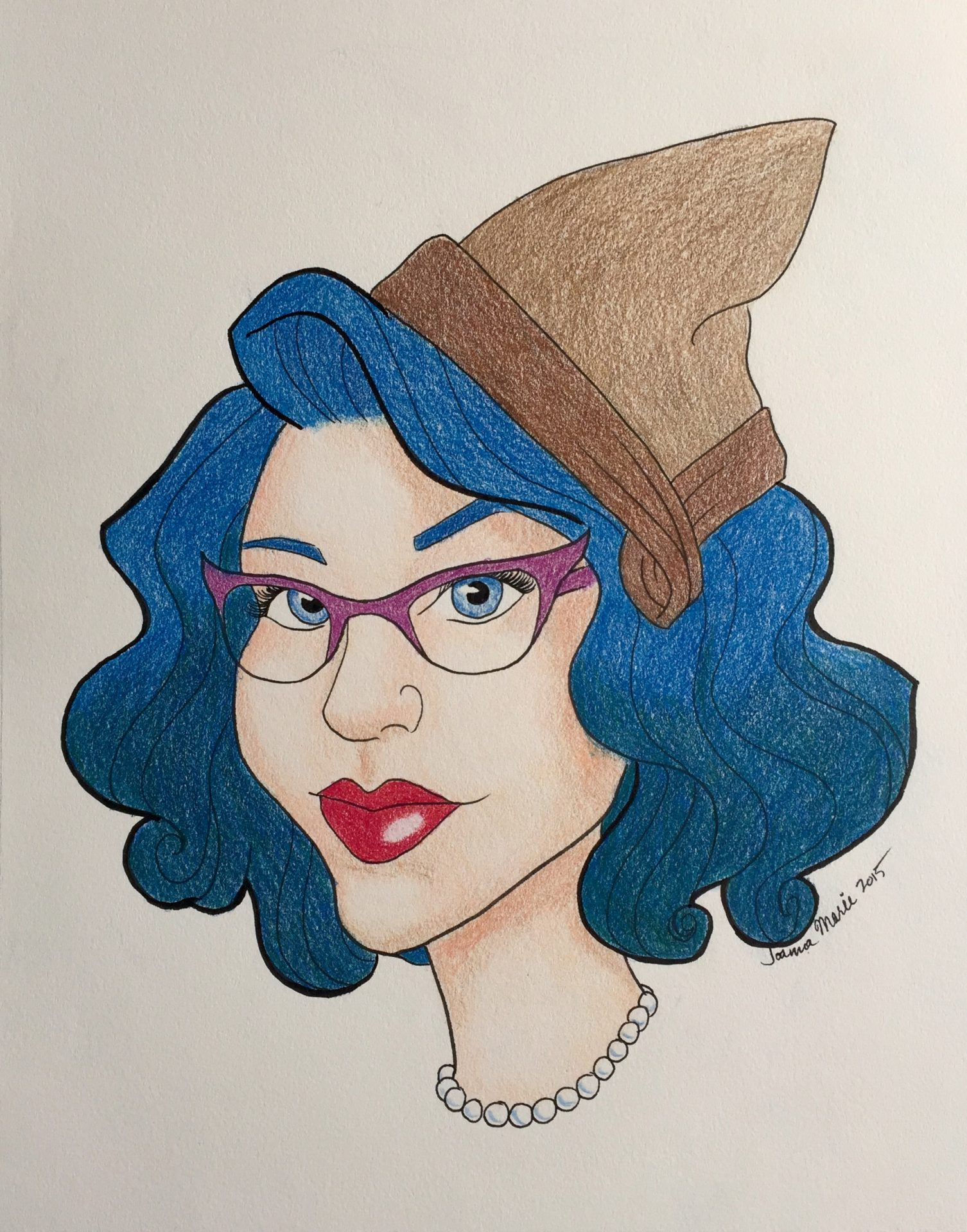 Glam 1930s Schoolteacher, 2015, 8x10, Colored Pencil