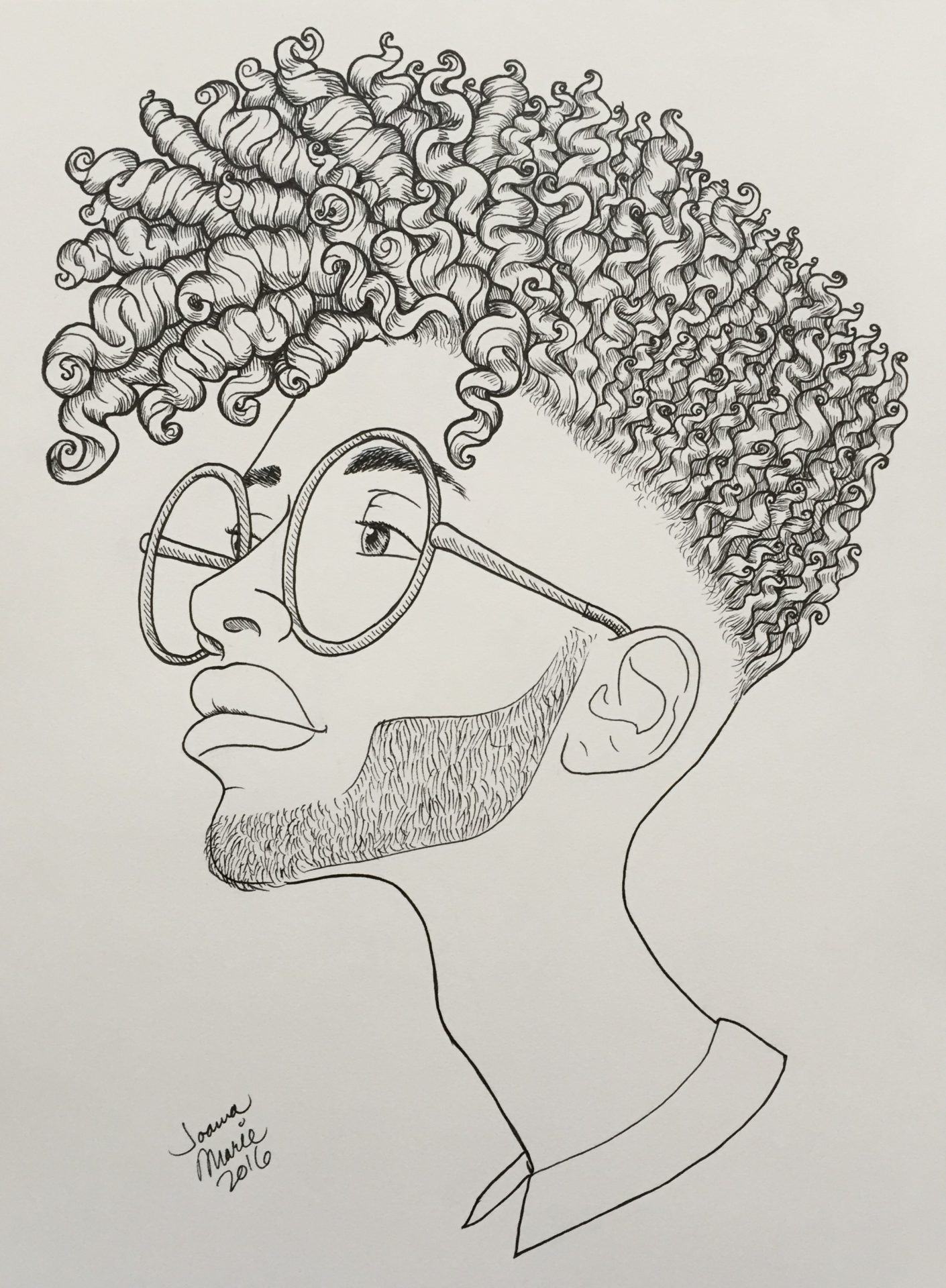 Nerdchic, 2016, 9x12, Pen & Ink