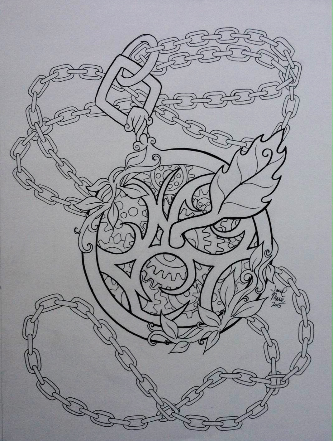 Pendant, 2015, 12x16, Pen and Ink