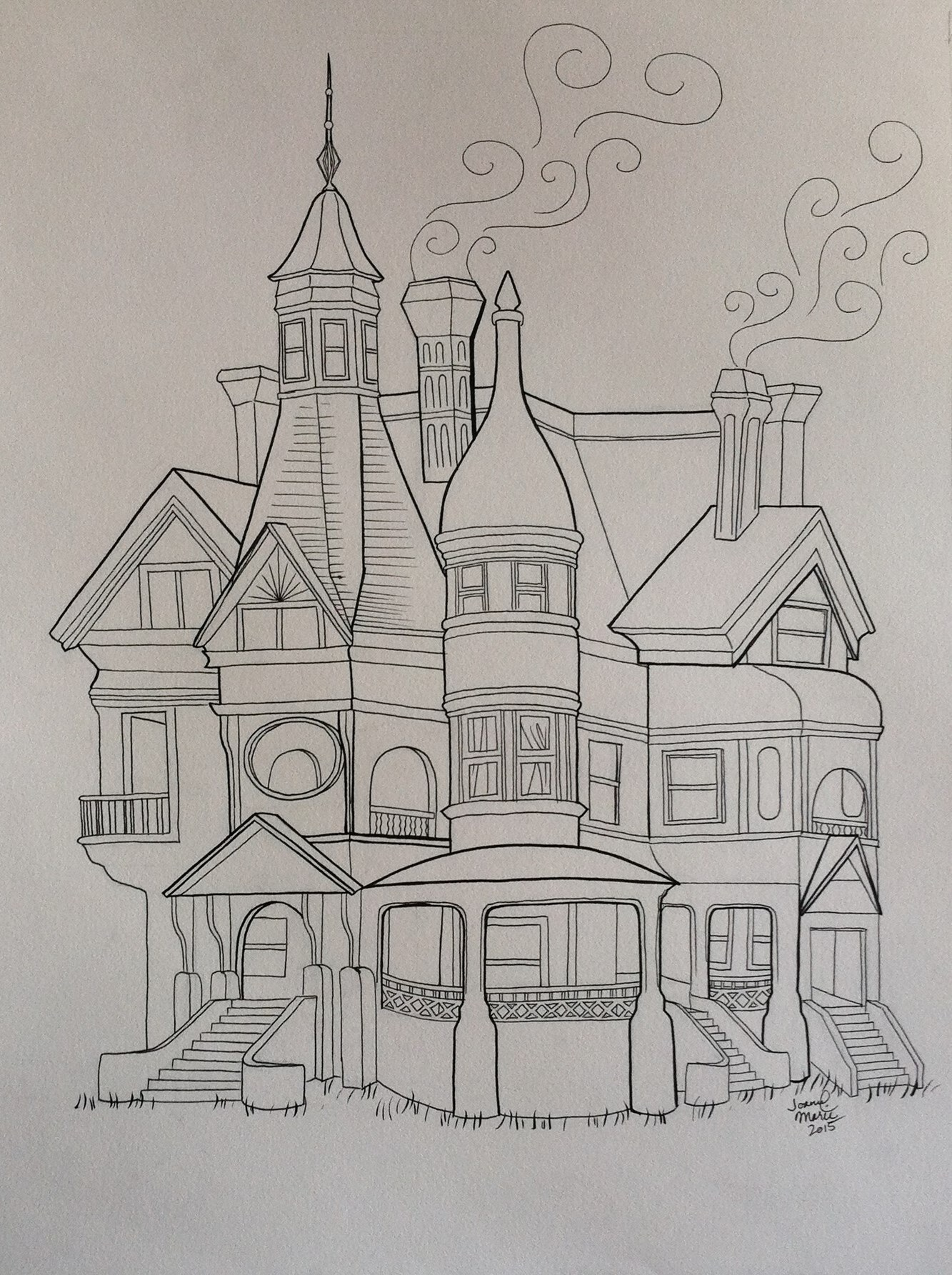JW's House, 2015, 12x16, Pen and Ink