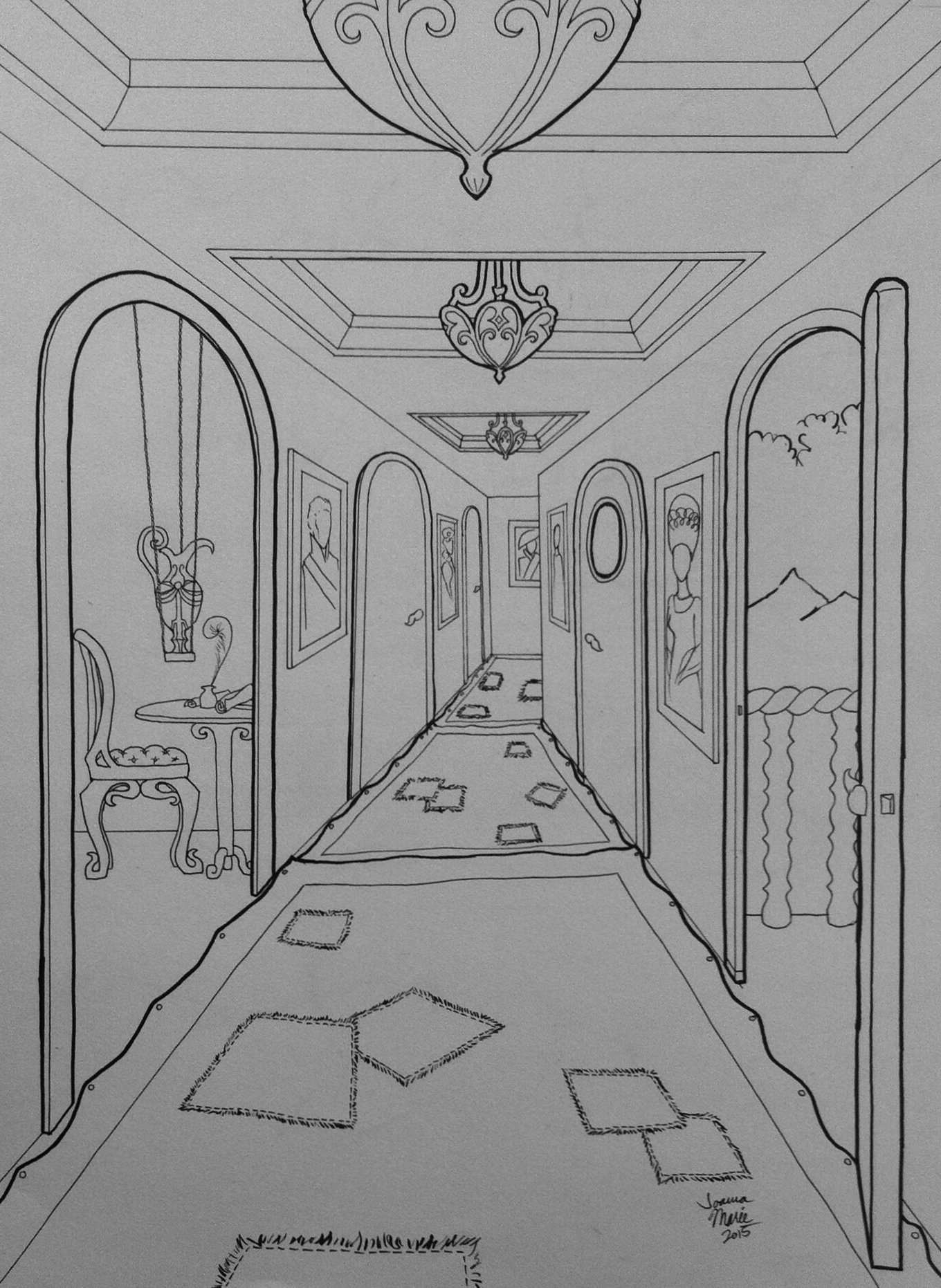 Storming Interior, 2015, 12x16, Pen and Ink