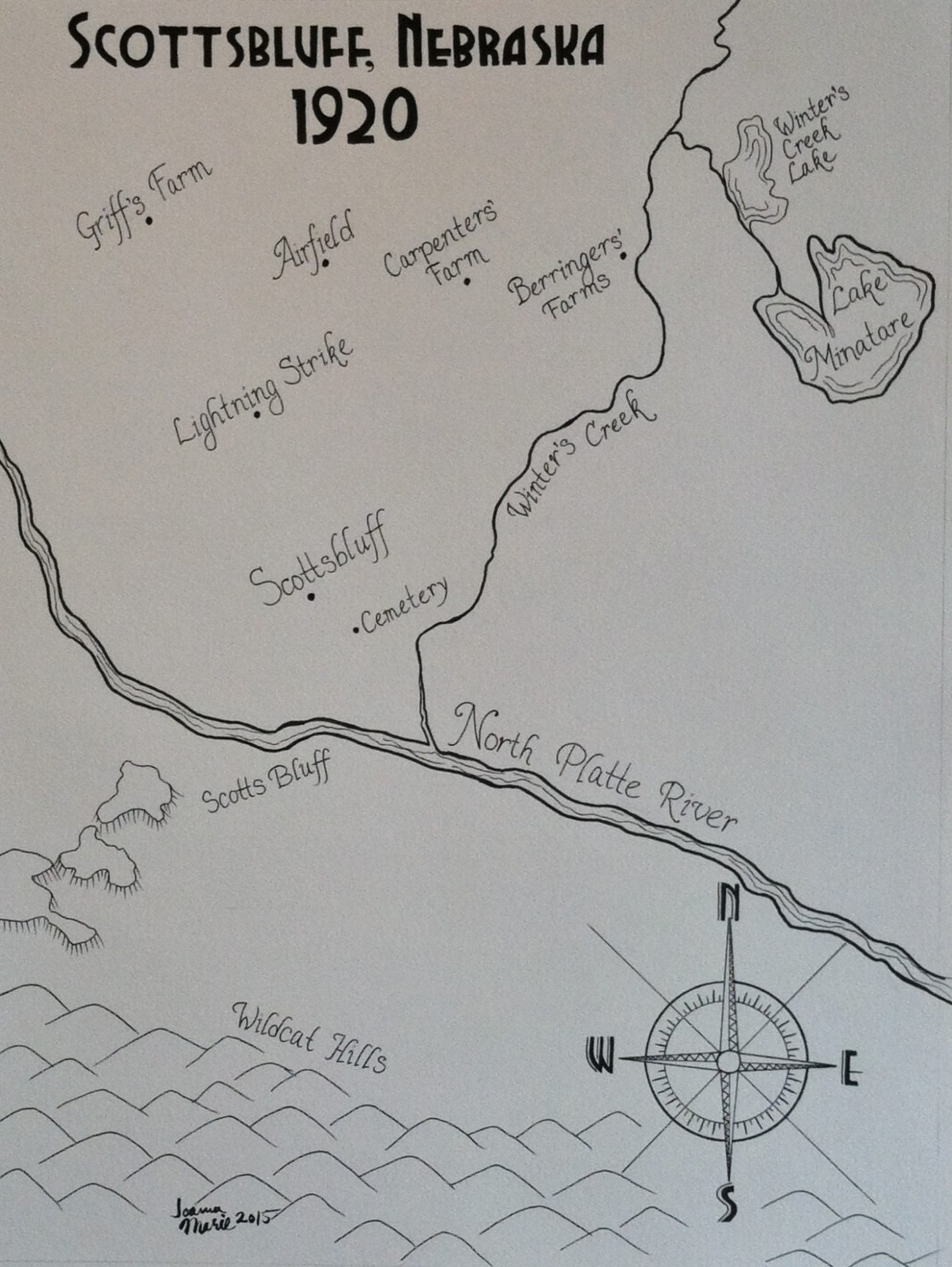 Scottsbluff Map, 2015, 12x16, Pen and Ink