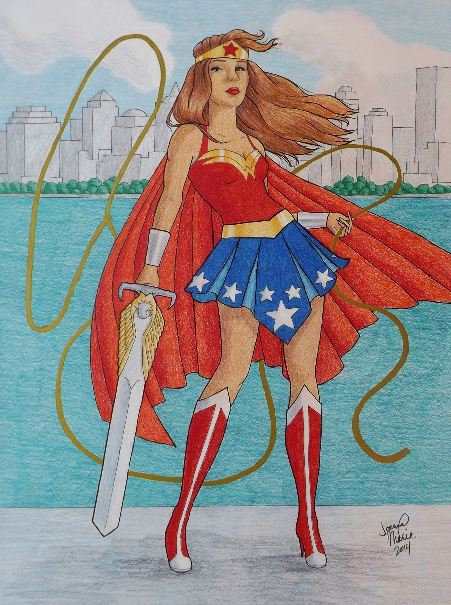 Wonder Woman, 2014, 12x16, Colored Pencil
