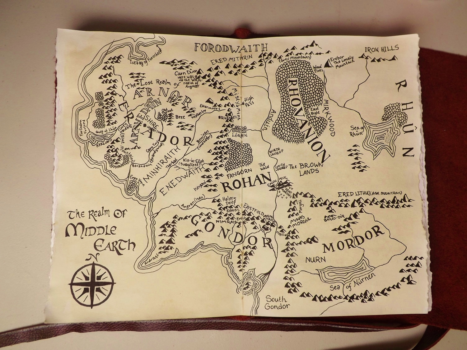 Middle Earth Map, 2012, 8x11, Pen and Ink