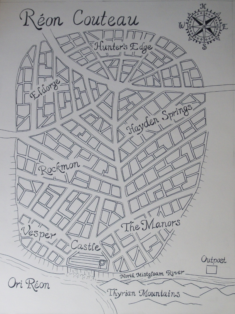 Reon Couteau Map, 2012, 12x16, Pen and Ink