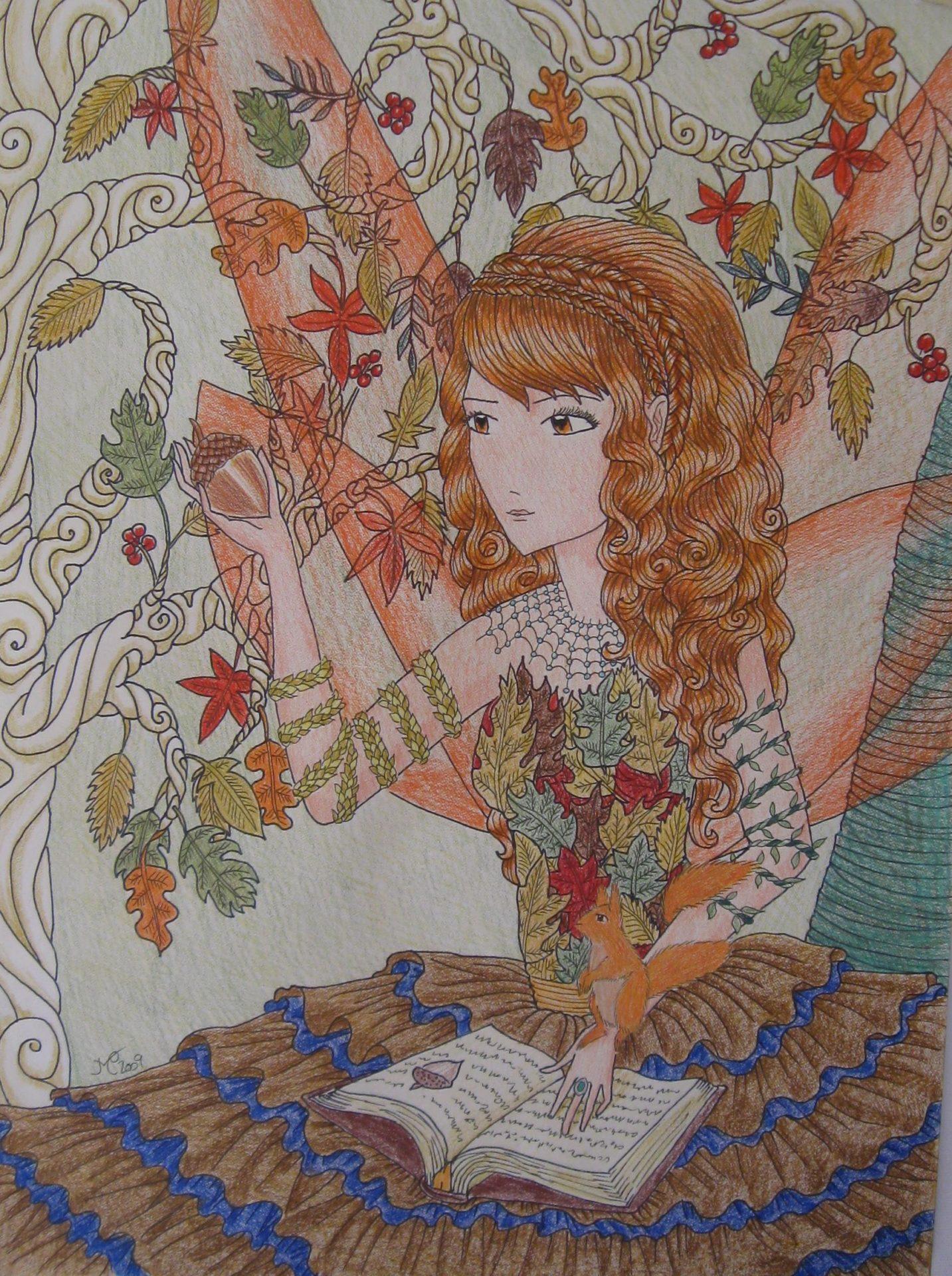 Autumn, 2009, 12x16, Colored Pencil