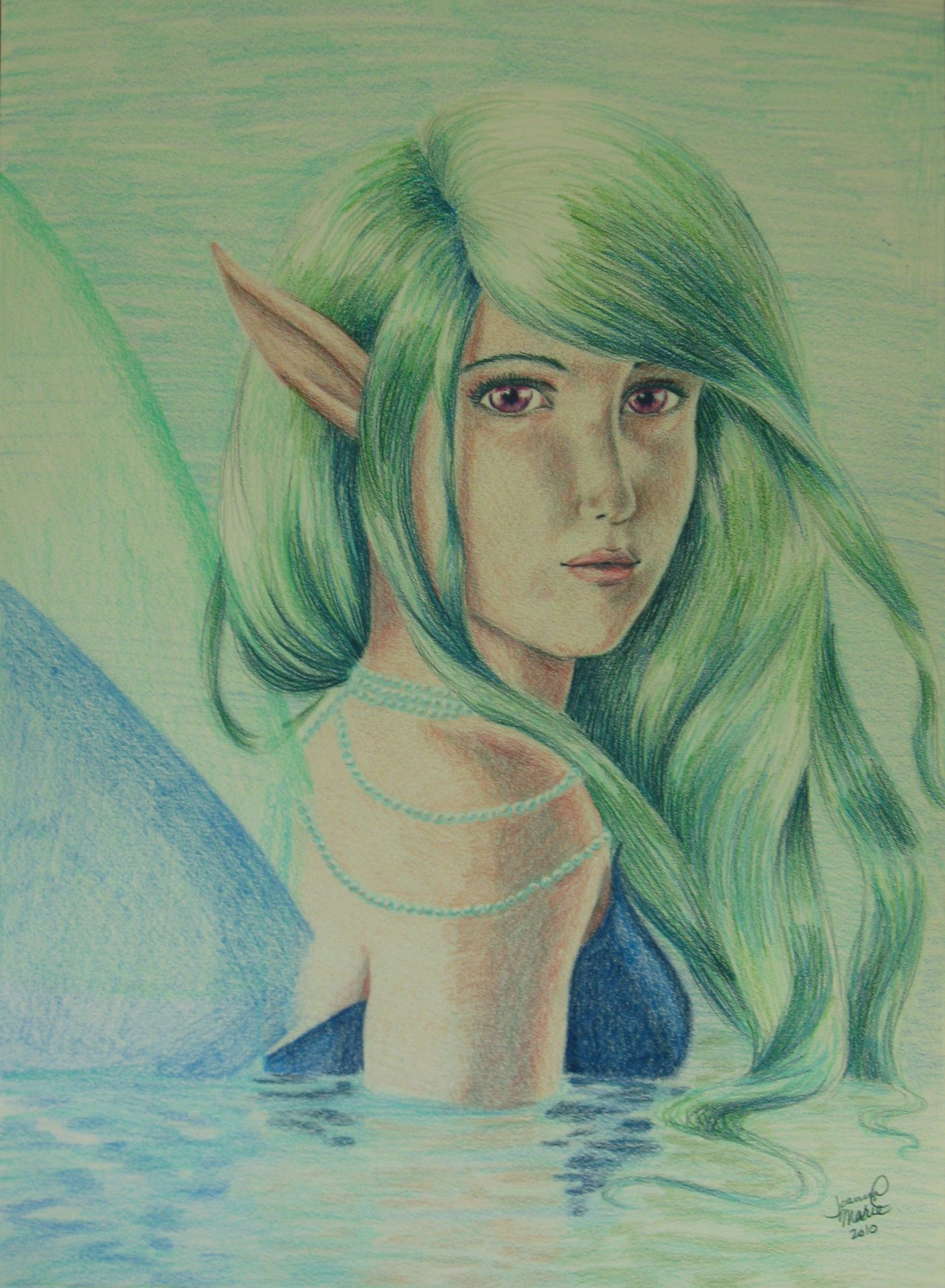 Water Faerie, 2010, 12x16, Colored Pencil