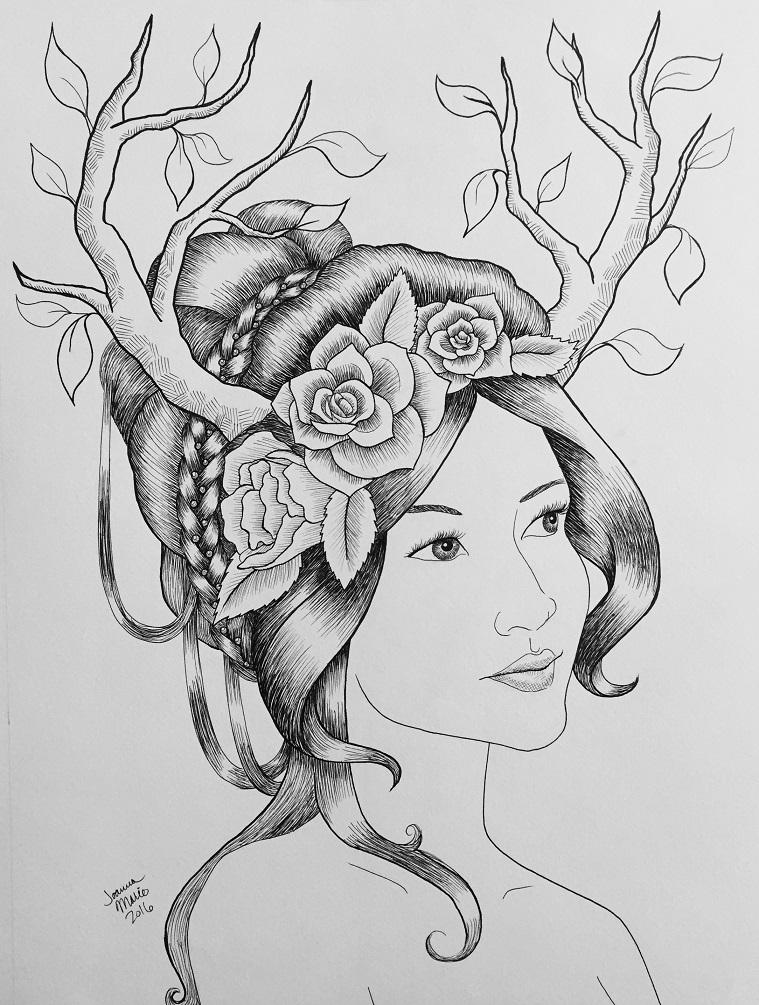 Wood Faerie, 2016, 12x16, Pen & Ink