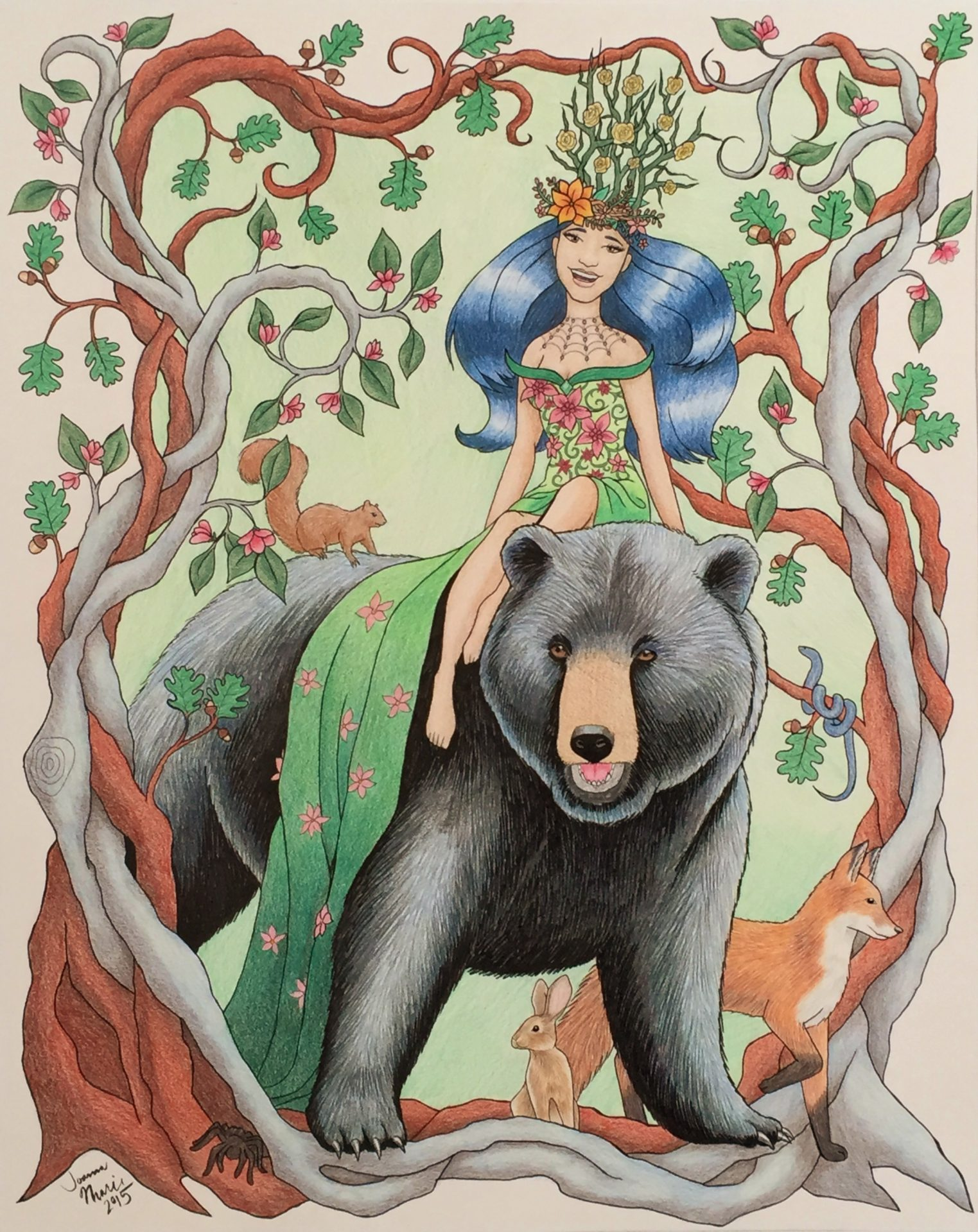 Queen of the Forest, 2015, 16x20, Colored Pencil